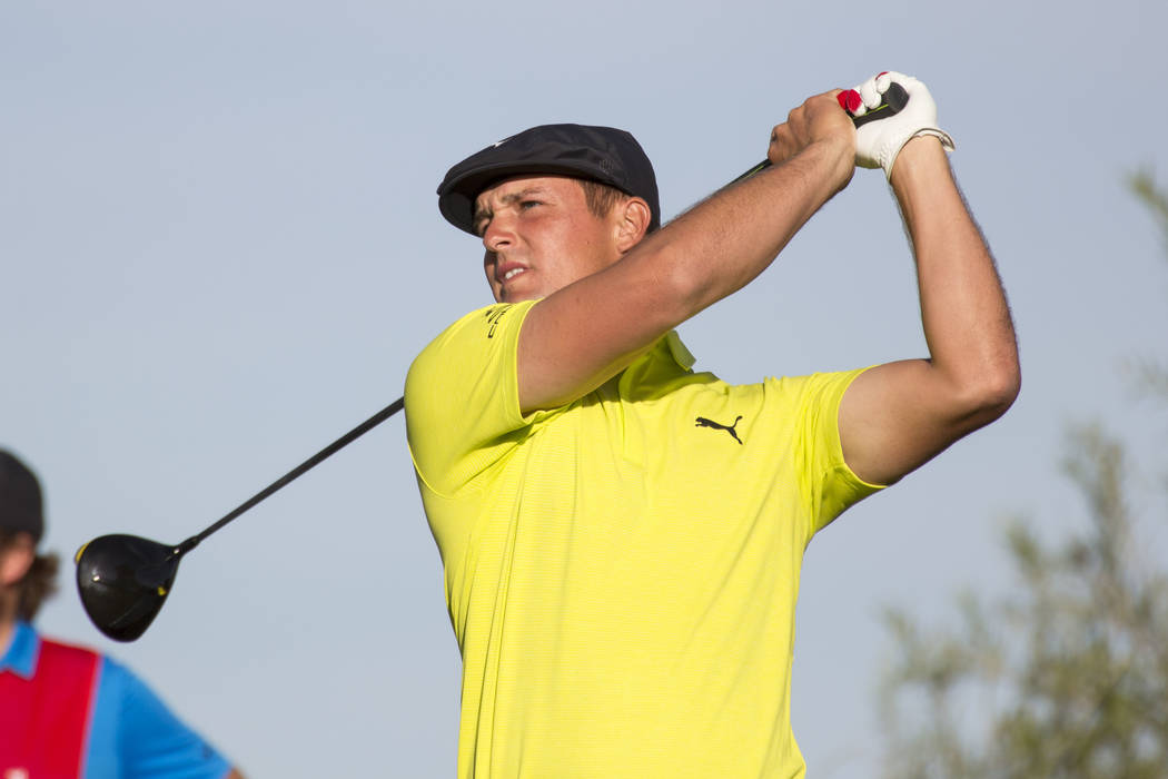 Bryson DeChambeau tees off from the 18th during the third round of the Shriners Hospitals for Children Open tournament at TPC at Summerlin in Las Vegas on Saturday, Nov. 3, 2018. Richard Brian Las ...