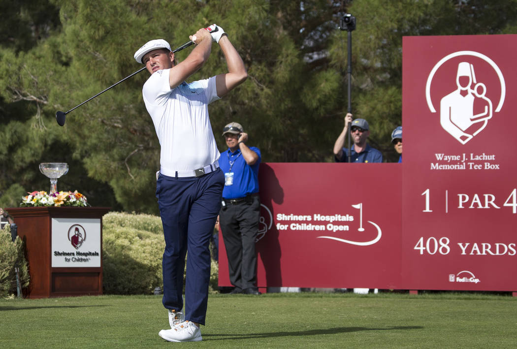 American golfer Bryson DeChambeau tees off from the first box during the final round of the Shriners Hospitals for Children Open at TPC at Summerlin in Las Vegas on Sunday, Nov. 4, 2018. Richard B ...