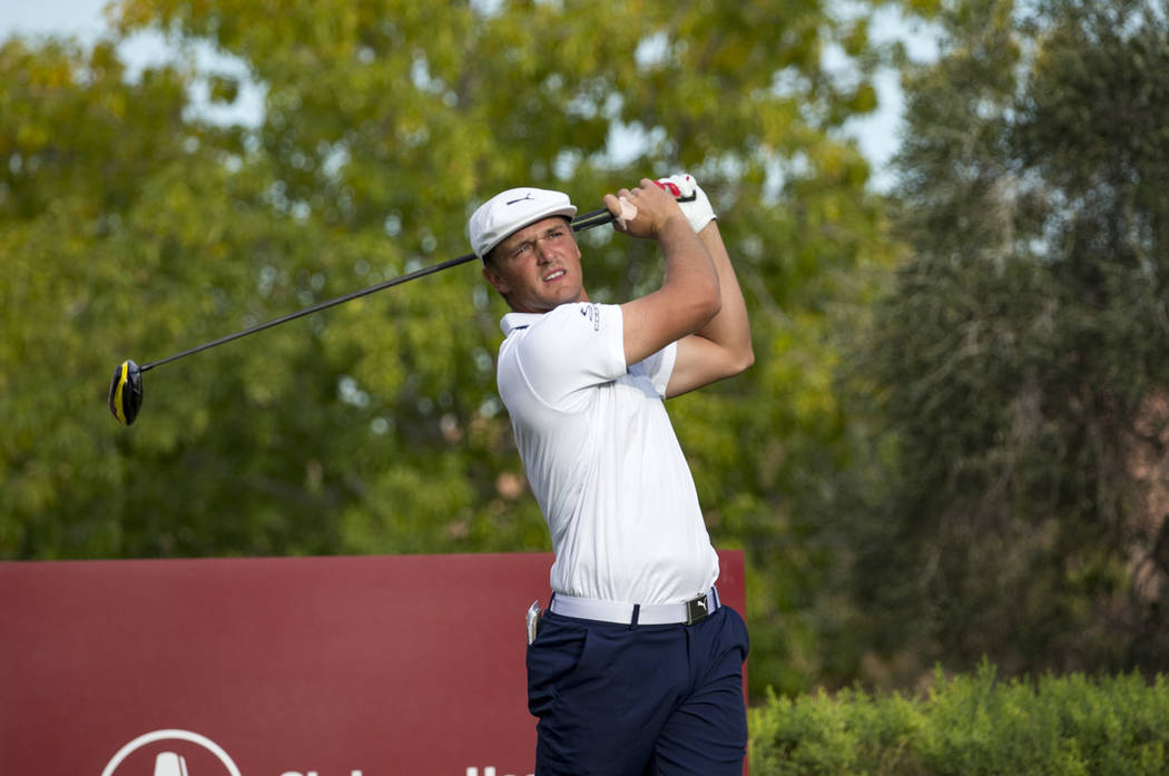 American golfer Bryson DeChambeau tees off from the 16th box during the final round of the Shriners Hospitals for Children Open at TPC at Summerlin in Las Vegas on Sunday, Nov. 4, 2018. Richard Br ...