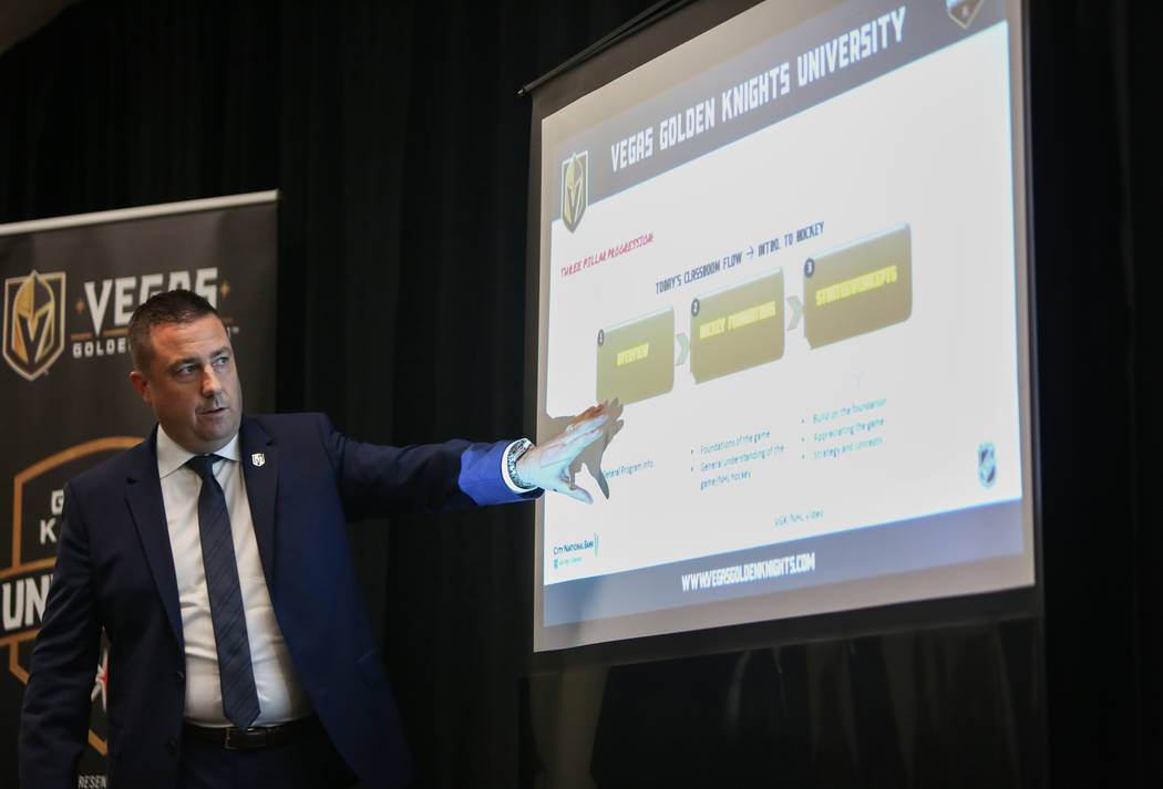 Misha Donskov, Director of Hockey Operations, conducts a Hockey 101 session that includes hockey basics, offensive and defensive strategies, special teams and coaching preparation at T-Mobile Aren ...
