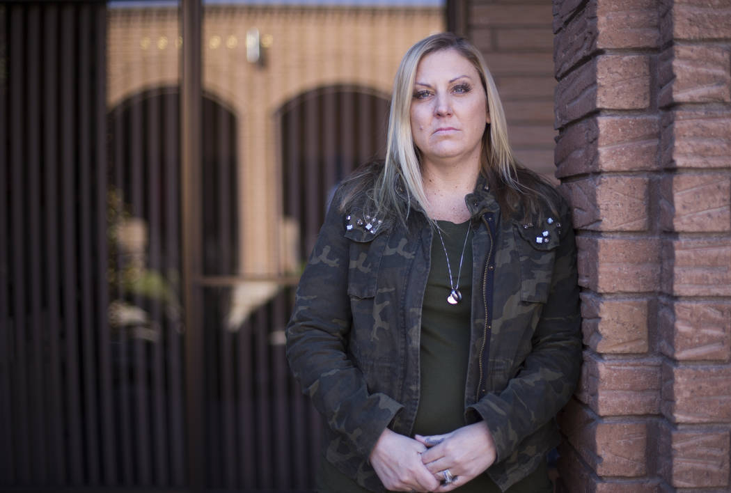 Meredith Tracy at the Las Vegas Review-Journal in Las Vegas, Wednesday, Oct. 31, 2018. Her husband, Russell Tracy, died more than a year ago on his first day working for a new company, when he fel ...