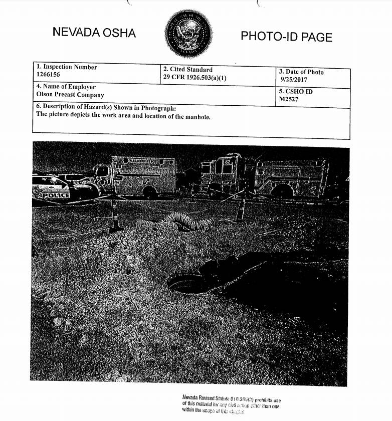 On Sept. 25, 2017, Russell Tracy died on the job when he fell into a 22-foot deep manhole, which is pictured in an OSHA inspection report. Olson Precast Company, Tracy's employer, was fined $82,00 ...
