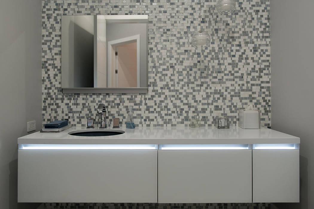 A secondary bathroom has special lighting. (Steve Morgan)
