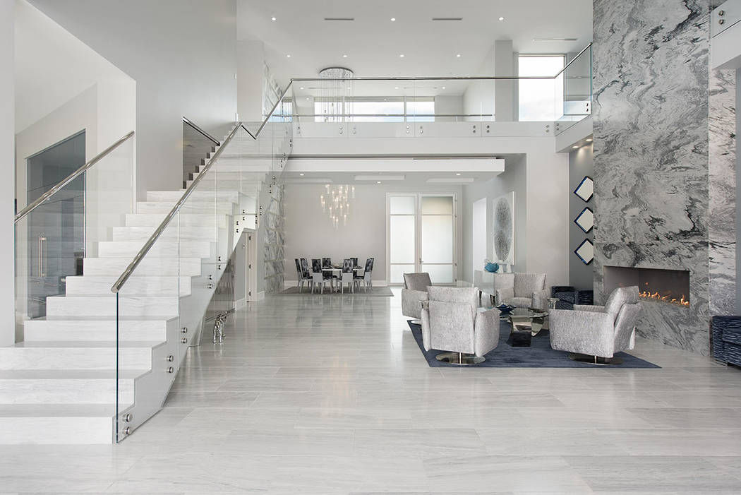 The home has a continuous color palette of white, gray and blue. (Steve Morgan)