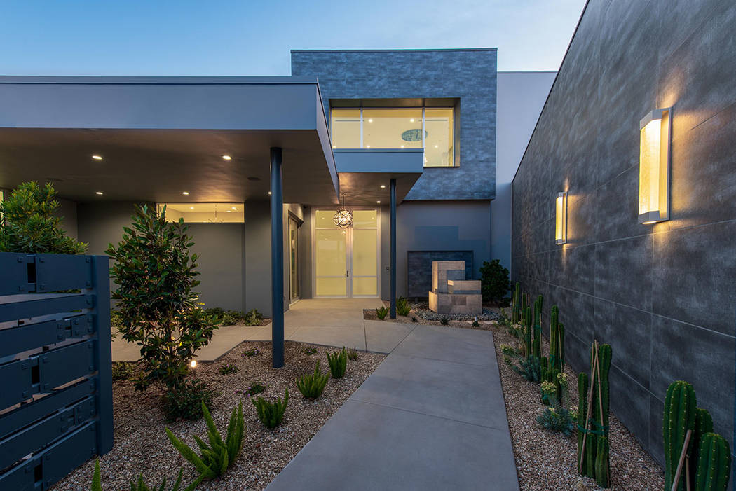 The home at 15 Flying Cloud Lane in Summerlin has a modern design. (Steve Morgan)
