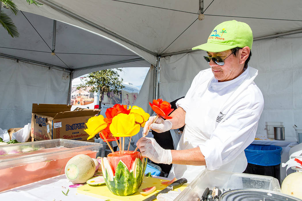 Chef Chan Boupha gave live pumpkin and vegetable carving demonstrations at the Summerlin Festival of Arts. (Summerlin)