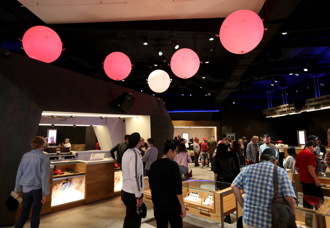 Floating orbs put on a show at Planet 13, which bills itself as one of the largest dispensaries in the world, Thursday, Nov. 1, 2018. The marijuana store opened its doors near the intersection of ...