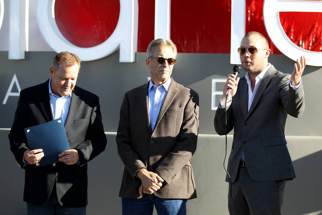 Co-CEO Bob Groesbeck, from left, co-CEO Larry Scheffler and Vice President of Operations Chris Wren welcome the first customers to Planet 13, which bills itself as one of the largest dispensaries ...