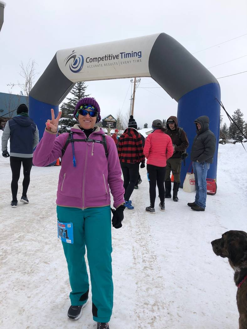 Jenny Whitaker poses at a half marathon in Seeley Lake, Montana, on Feb. 24. Photo by Sarah Duncan
