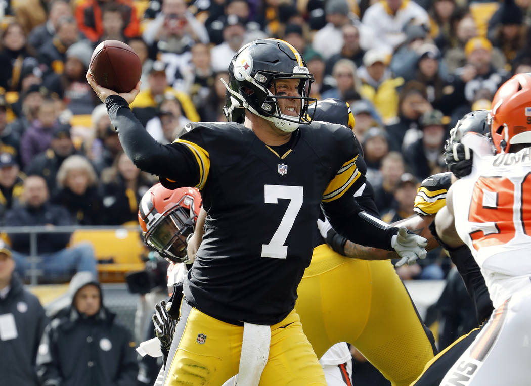 Pittsburgh Steelers quarterback Ben Roethlisberger throws during an NFL football game against the Cleveland Browns at Heinz Field, Sunday, Oct. 28, 2018 in Pittsburgh. (Winslow Townson/AP Images f ...