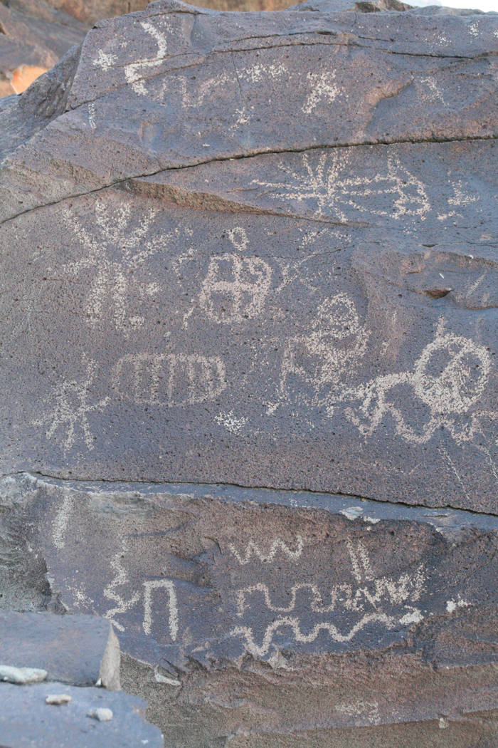 Many of the petroglyph panels in Grapevine Canyon feature abstract designs and symbols while others depict recognizable figures like bighorn sheep. (Deborah Wall)