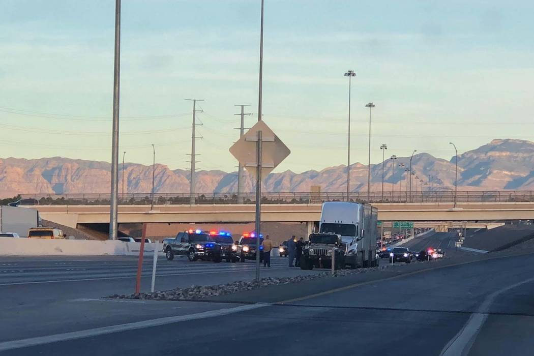The Nevada Highway Patrol investigates a fatal crash on eastbound 215 Beltway in Henderson, Thursday, Nov. 1, 2018. (Rio Lacanlale/Las Vegas Review-Journal)