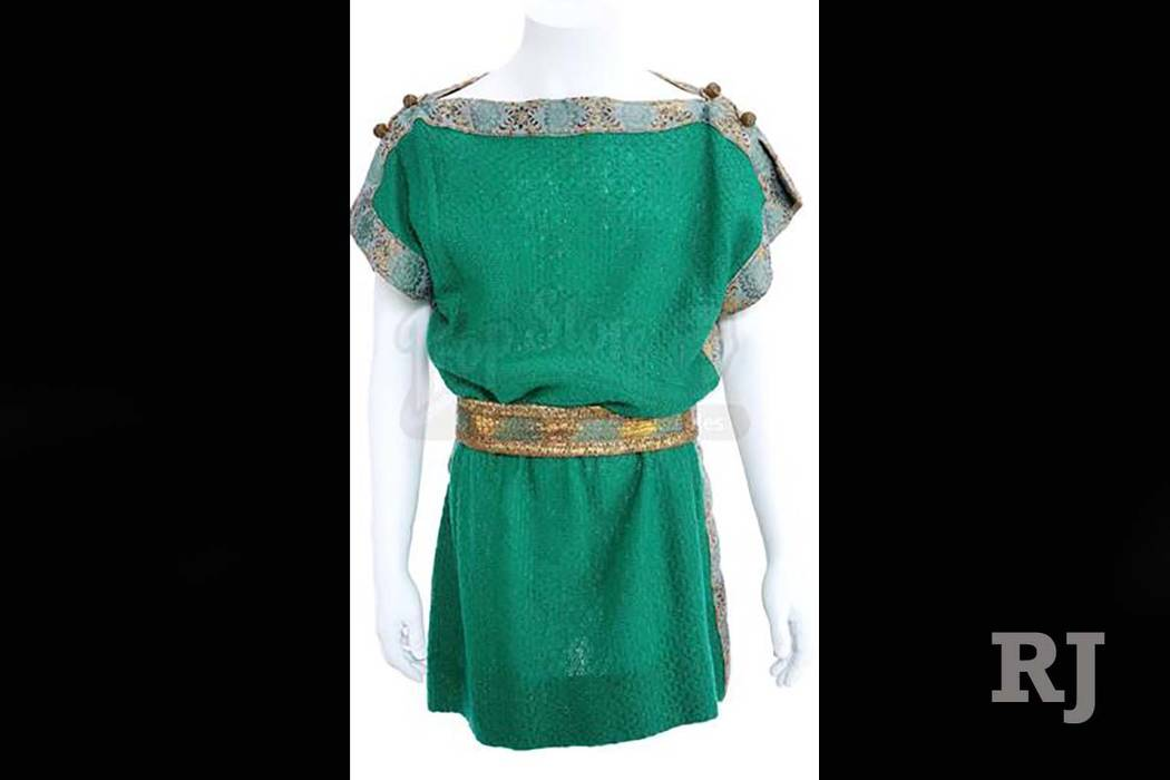 "Mr. Spock's (Leonard Nimoy) custom-made ancient Grecian tunic and belt from the ""Plato's Stepchildren"" episode of ""Star Trek"" is one of the hundreds items being auctioned at propstore.com. Bids st ..."