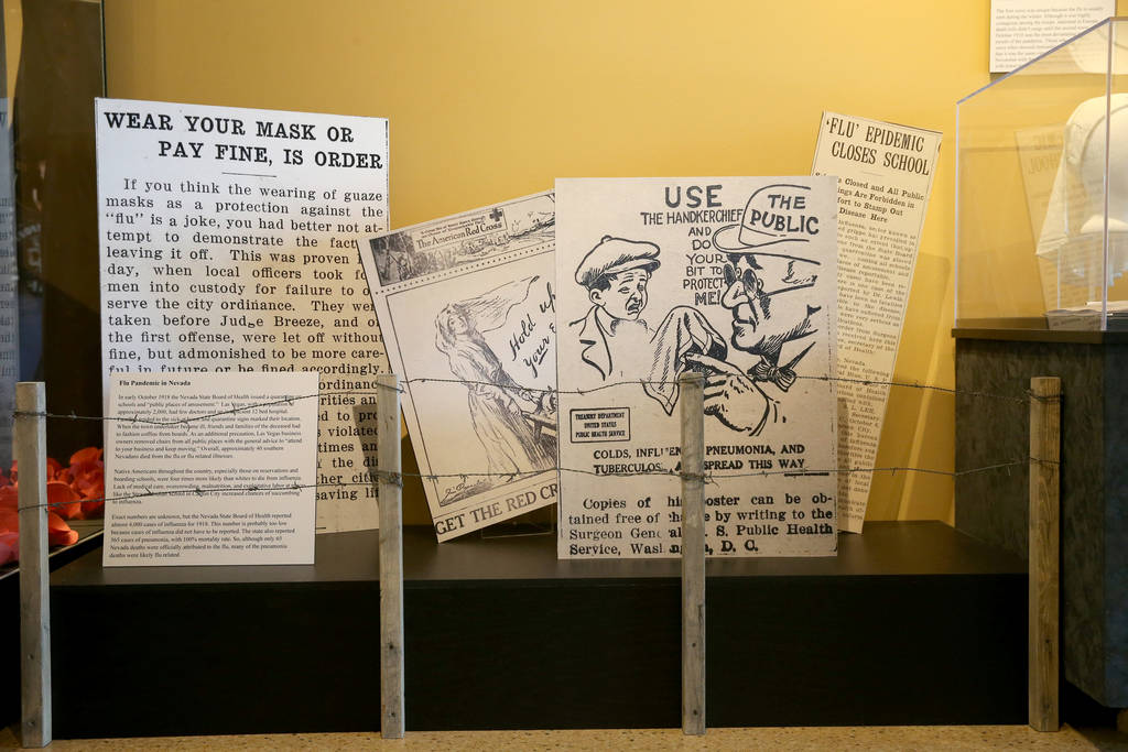 A section dedicated to the 1918 worldwide flue pandemic is part of the new World War I exhibit at the Nevada State Museum at the Las Vegas Springs Preserve Tuesday, Oct. 30, 2018. K.M. Cannon Las ...