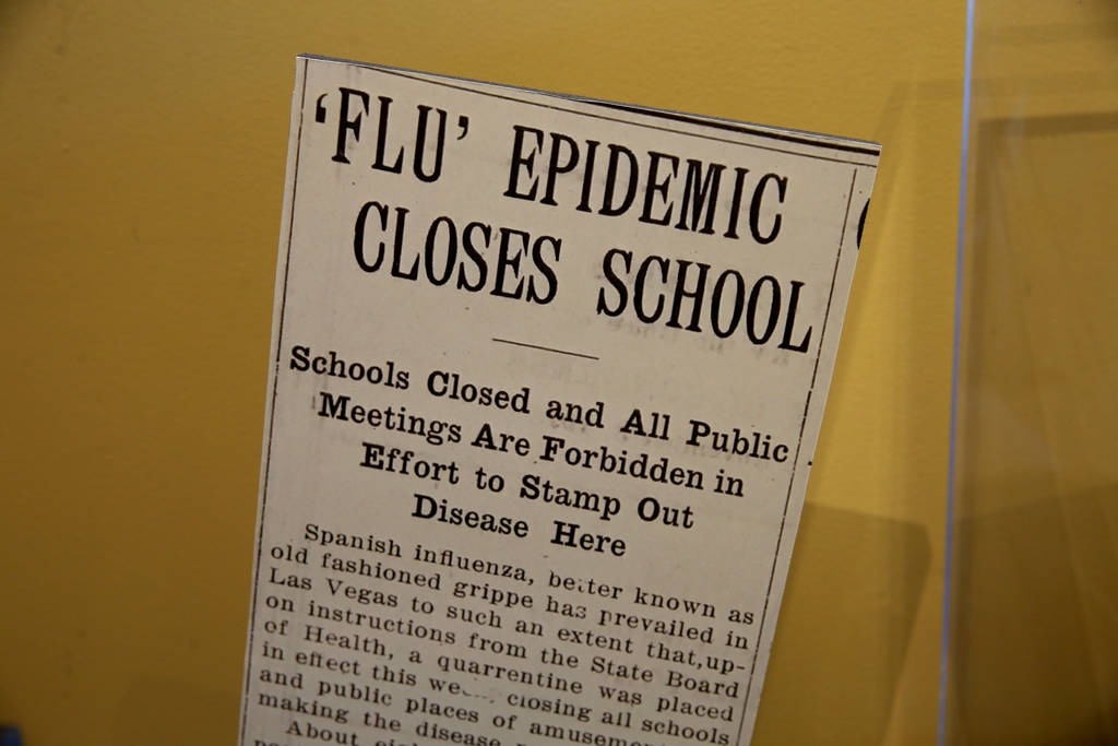A newspaper article in a section of the new World War I exhibit dedicated to the 1918 worldwide flue pandemic at the Nevada State Museum at the Las Vegas Springs Preserve in Las Vegas Tuesday, Oct ...