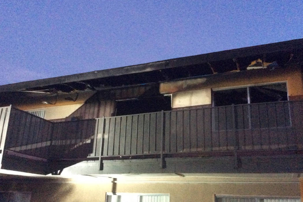 One person is dead after a fire at an apartment complex in the east Las Vegas Valley on Saturday morning, the Las Vegas Fire Department said. (Las Vegas Fire and Rescue/Twitter)