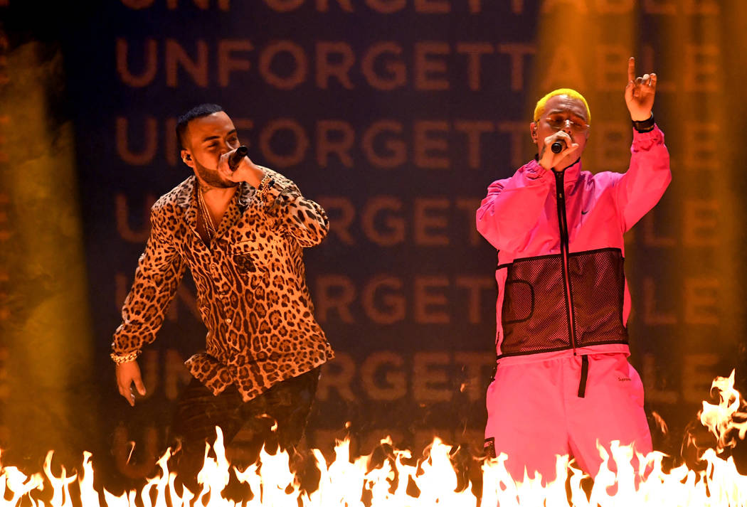 French Montana (L) and J Balvin perform onstage at the 18th Annual Latin Grammy Awards at MGM Grand Garden Arena on November 16, 2017 in Las Vegas, Nevada. (Photo by Kevin Winter/Getty Images)