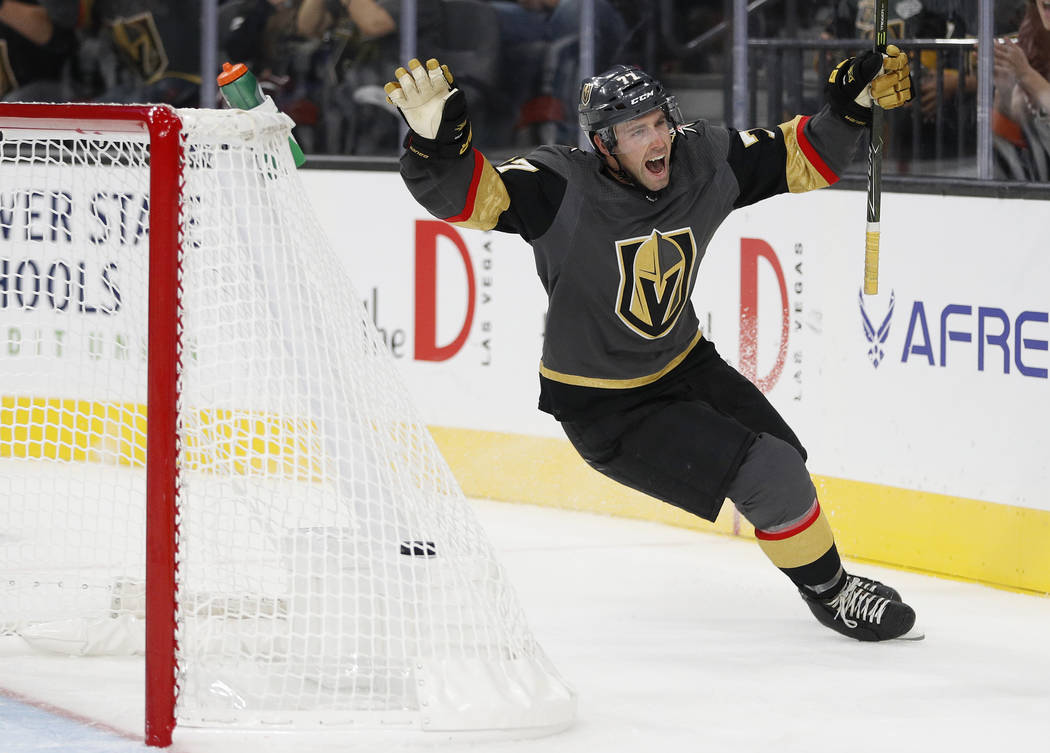 Vegas Golden Knights defenseman Brad Hunt (77) celebrates after scoring against the Colorado Avalanche during the third period of a preseason NHL hockey game, Monday, Sept. 24, 2018, in Las Vegas. ...