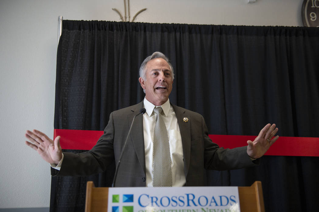 Clark County Sheriff Joe Lombardo speaks at the CrossRoads of Southern Nevada ribbon cutting ceremony at its new facility in Las Vegas, Thursday, Nov. 1, 2018. Caroline Brehman/Las Vegas Review-Jo ...