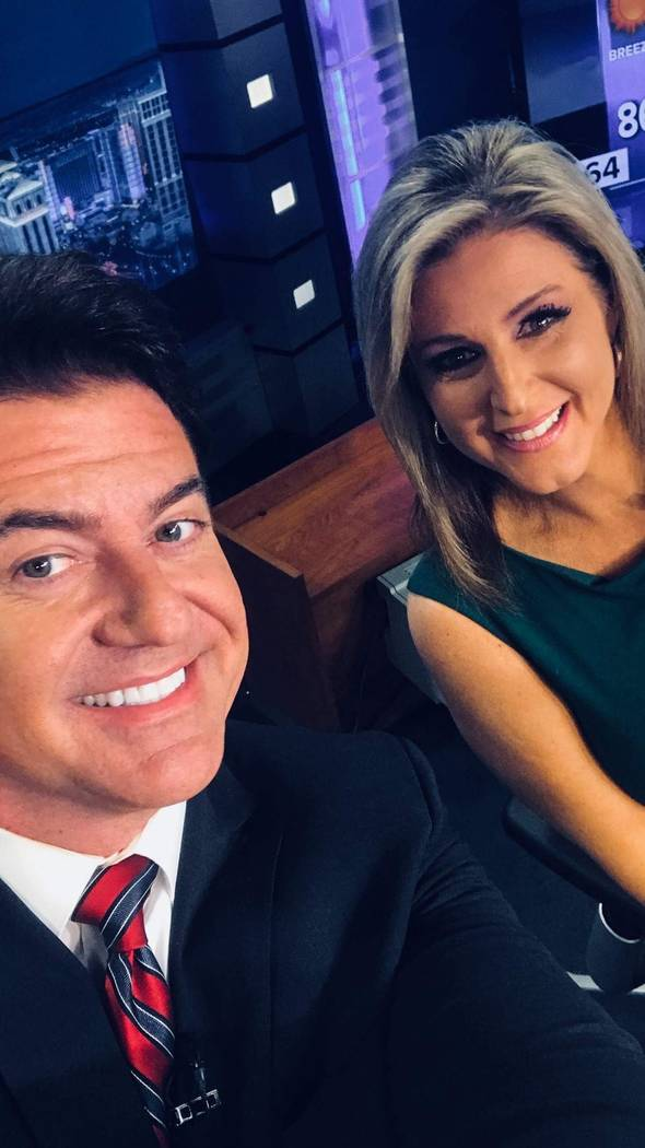Bryan Scofield is shown with co-anchor Tricia Kean on a Facebook post on Aug. 18, 2018. Scofield left KTNV Channel 13 on Oct. 17. (Facebook)