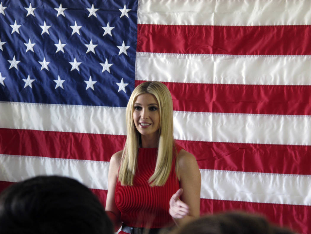 Ivanka Trump, President Trump's daughter and advisor, speaks during an appearance with Nevada Republican Sen. Dean Heller at the GOP field office in Reno, Nev., Thursday, Nov. 1, 2018. She says sh ...
