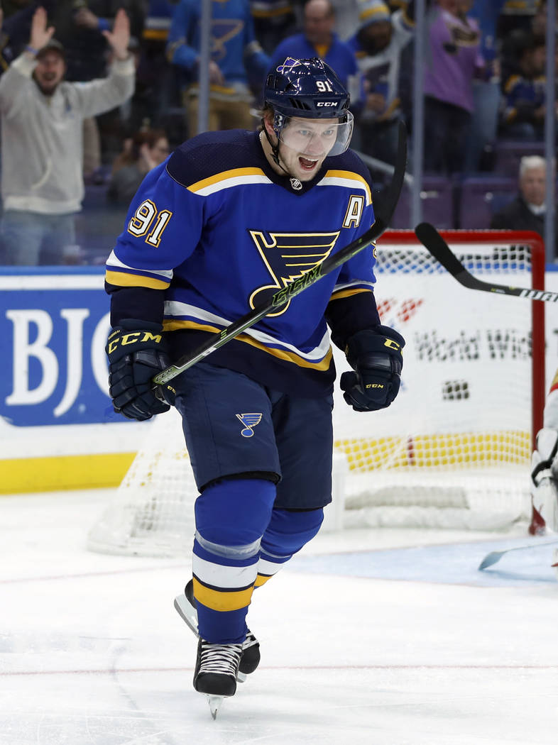 St. Louis Blues' Vladimir Tarasenko, of Russia, celebrates after scoring during the second period of an NHL hockey game against the Vegas Golden Knights Thursday, Nov. 1, 2018, in St. Louis. (AP P ...