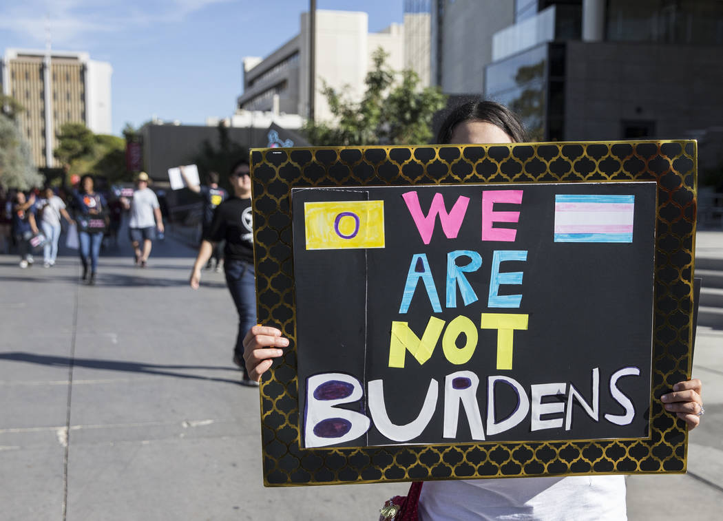 Protesters with the Women's March Nevada arrive at a rally hosted by the Nevada State Democratic Party at UNLV on Friday, November 2, 2018, in Las Vegas. Benjamin Hager Las Vegas Review-Journal