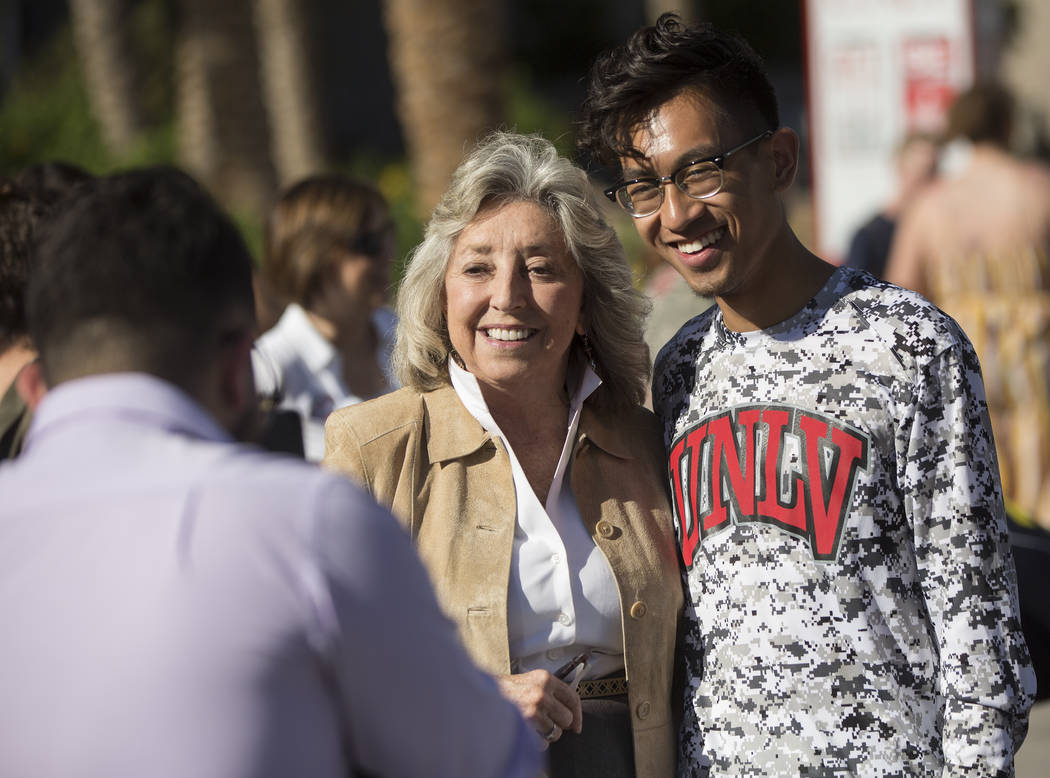 Democratic Congresswoman Dina Titus, left, takes a photo with Karl Catarata during a rally hosted by the Nevada State Democratic Party at UNLV on Friday, November 2, 2018, in Las Vegas. Benjamin H ...