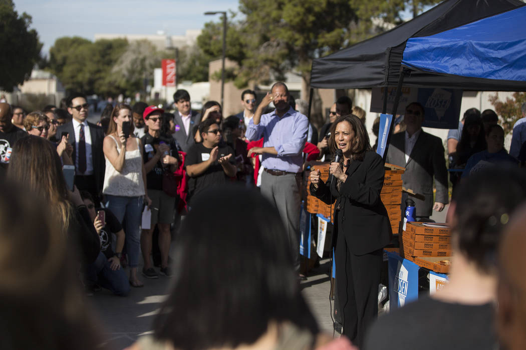 U.S. Sen. Kamala Harris, D-Calif., right, speaks during a rally hosted by the Nevada State Democratic Party at UNLV on Friday, November 2, 2018, in Las Vegas. Benjamin Hager Las Vegas Review-Journal