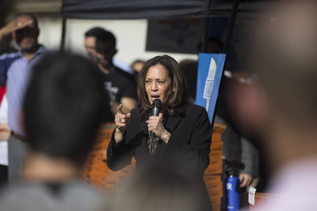 U.S. Sen. Kamala Harris, D-Calif., speaks during a rally hosted by the Nevada State Democratic Party at UNLV on Friday, November 2, 2018, in Las Vegas. Benjamin Hager Las Vegas Review-Journal