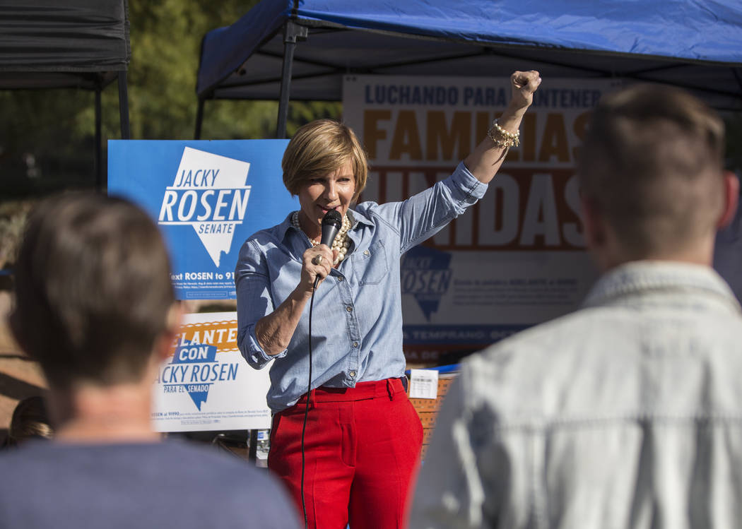 Democratic congressional candidate Susie Lee speaks during a rally hosted by the Nevada State Democratic Party at UNLV on Friday, November 2, 2018, in Las Vegas. Benjamin Hager Las Vegas Review-Jo ...