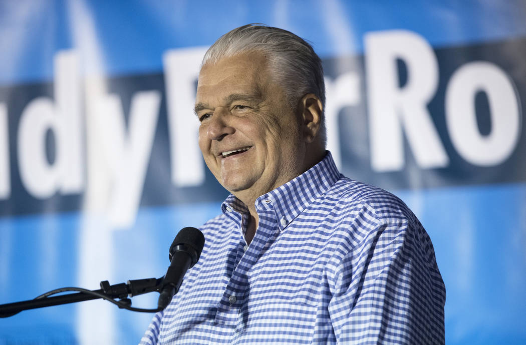 Democratic gubernatorial candidate Steve Sisolak speaks during a Get-Out-The-Vote rally on Friday, November 2, 2018, at First Friday, in Las Vegas. Benjamin Hager Las Vegas Review-Journal