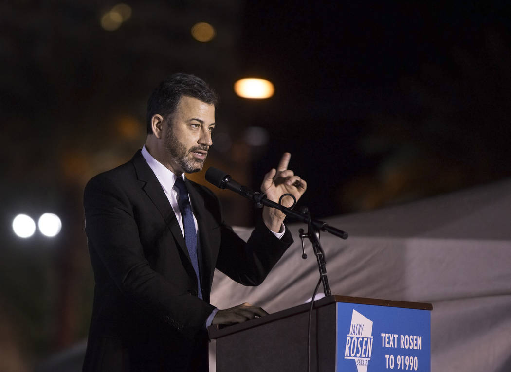 Jimmy Kimmel, the host of Jimmy Kimmel Live! and a Clark High School graduate, speaks during a Get-Out-The-Vote rally on Friday, November 2, 2018, at First Friday, in Las Vegas. Benjamin Hager Las Vegas Review-Journal