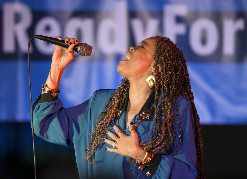 """Andra Day sings """"Rise Up"""" during a Get-Out-The-Vote rally on Friday, November 2, 2018, at First Friday, in Las Vegas. Benjamin Hager Las Vegas Review-Journal"""