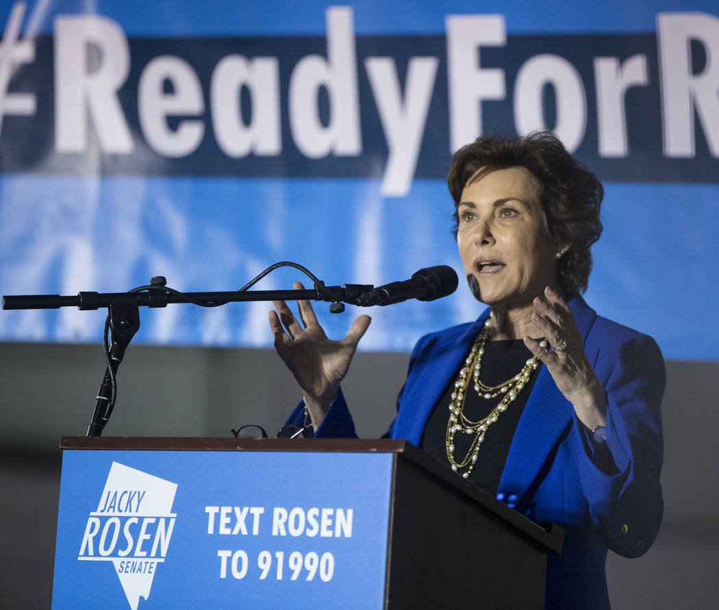 Democratic Congresswoman Jacky Rosen speaks during a Get-Out-The-Vote rally on Friday, November 2, 2018, at First Friday, in Las Vegas. Benjamin Hager Las Vegas Review-Journal