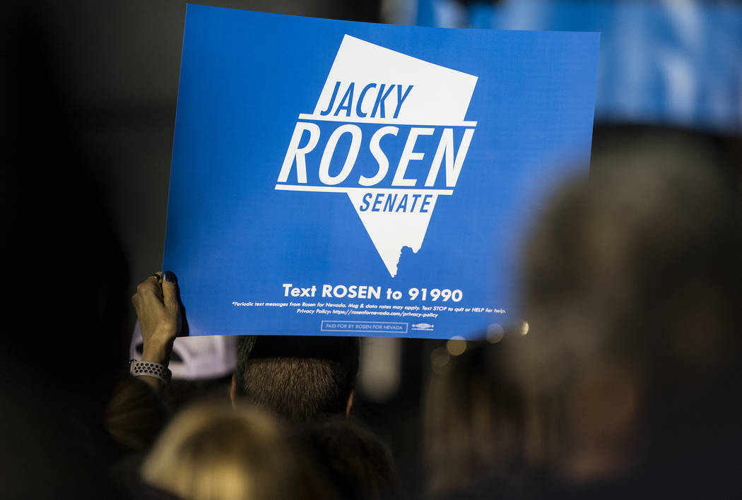 Supporters of Democratic Congresswoman Jacky Rosen listen to her speak during a Get-Out-The-Vote rally on Friday, November 2, 2018, at First Friday, in Las Vegas. Benjamin Hager Las Vegas Review-J ...