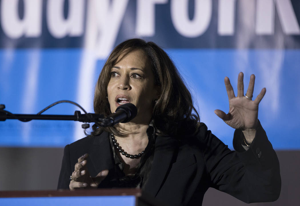 U.S. Sen. Kamala Harris, D-Calif., speaks during a Get-Out-The-Vote rally on Friday, November 2, 2018, at First Friday, in Las Vegas. Benjamin Hager Las Vegas Review-Journal