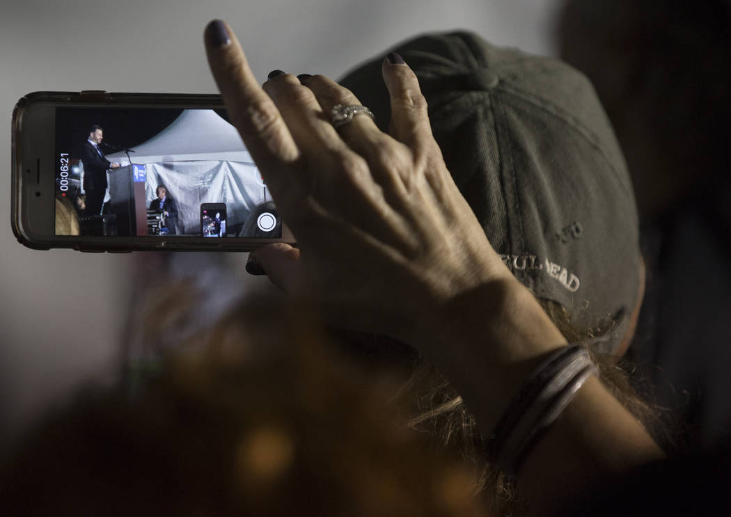 Supporters of Jimmy Kimmel, the host of Jimmy Kimmel Live! and a Clark High School graduate, record his speech during a Get-Out-The-Vote rally on Friday, November 2, 2018, at First Friday, in Las Vegas. Benjamin Hager Las Vegas Review-Journal