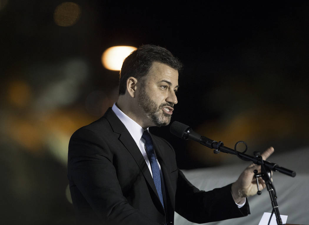 Jimmy Kimmel, the host of Jimmy Kimmel Live!, speaks during a Get-Out-The-Vote rally on Friday, November 2, 2018, at First Friday, in Las Vegas. Benjamin Hager Las Vegas Review-Journal
