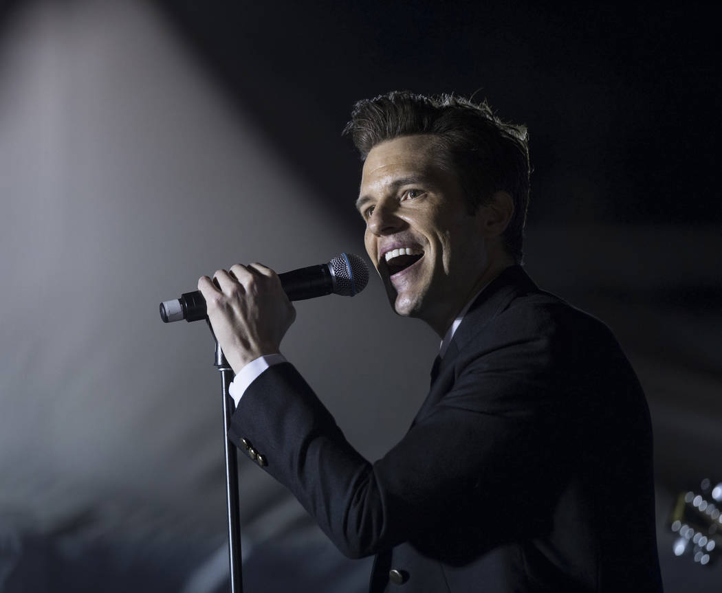Brandon Flowers, frontman for The Killers and a Las Vegas native, performs during a Get-Out-The-Vote rally on Friday, November 2, 2018, at First Friday, in Las Vegas. Benjamin Hager Las Vegas Revi ...