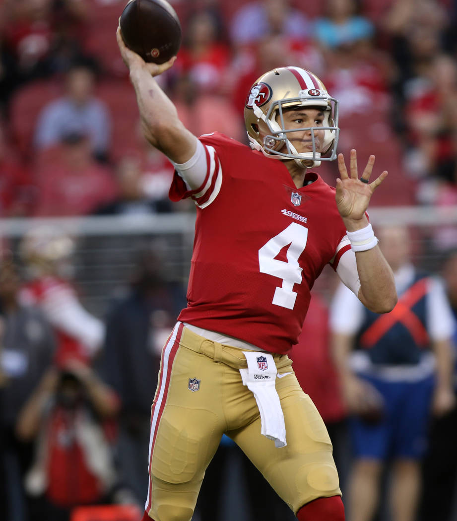 San Francisco 49ers quarterback Nick Mullens (4) throws the football during the first half of their NFL game against the Oakland Raiders in Santa Clara, Calif., Thursday, Nov. 1, 2018. Heidi Fang ...