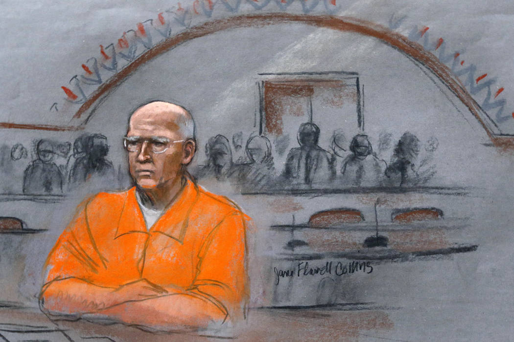 """The Associated Press file In this courtroom sketch, James """"Whitey"""" Bulger sits at his sentencing hearing in November 2013 in federal court in Boston."""