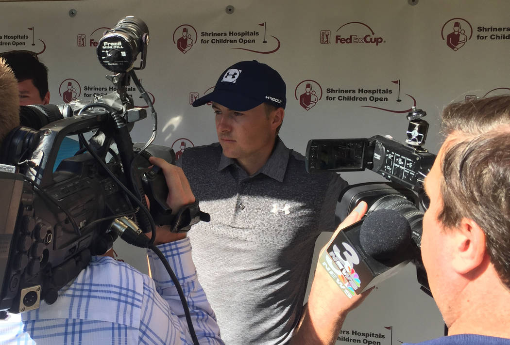PGA golfer Jordan Spieth talks to the media Thursday after shooting a opening round 5-under 66 at the Shriners Hospitals for Children at TPC Summerlin. Photo by Brian Hurlburt.