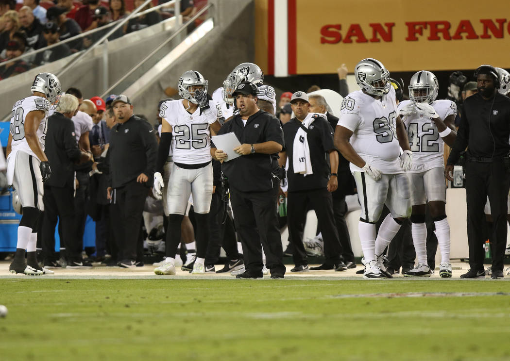 Oakland Raiders defensive coordinator Paul Guenther on the sideline during the first half of their NFL game against the San Francisco 49ers in Santa Clara, Calif., Thursday, Nov. 1, 2018. Heidi Fa ...