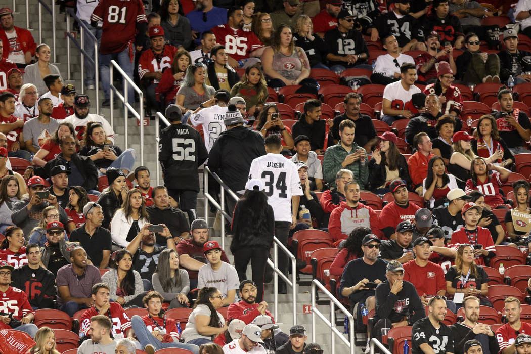 Oakland Raiders fans leave the Levi's Stadium during the second half of their NFL game against the San Francisco 49ers in Santa Clara, Calif., Thursday, Nov. 1, 2018. Heidi Fang Las Vegas Review-J ...