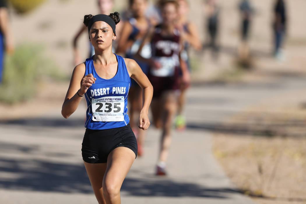 Desert Pines junior Jazmin Felix leads the 4A Mountain girls cross country region race at Veteran's Memorial Park in Boulder City Friday, Oct. 26, 2018. K.M. Cannon Las Vegas Review-Journal @KMCan ...