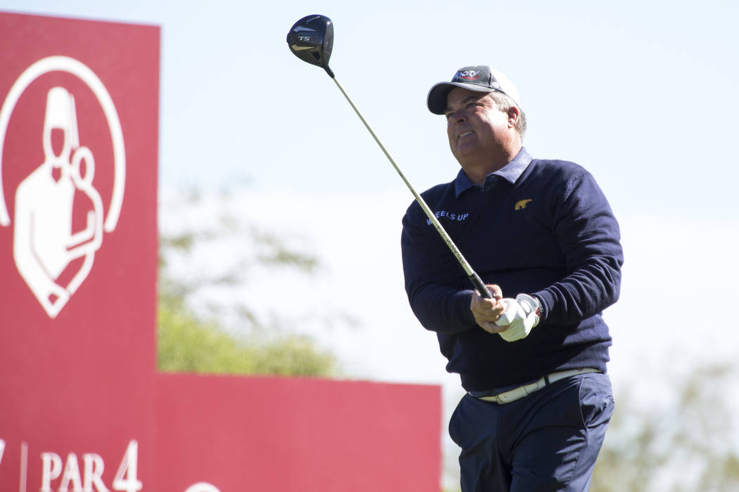 Kenny Perry watches his drive from the seventh tee box during the first round of the Shriners Hospitals For Children Open tournament at TPC at Summerlin in Las Vegas on Thursday, Nov. 1, 2018. Ric ...