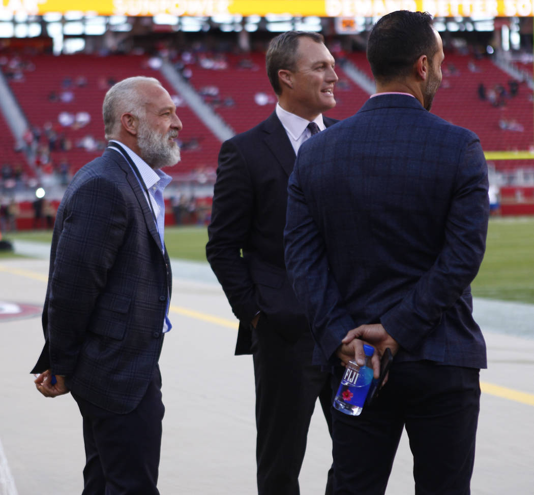 Former UFC owner Lorenzo Fertitta, left, meets with San Francisco 49ers general manager John Lynch prior to the start of an NFL game against the Oakland Raiders at Levi's Stadium in Santa Clara, C ...