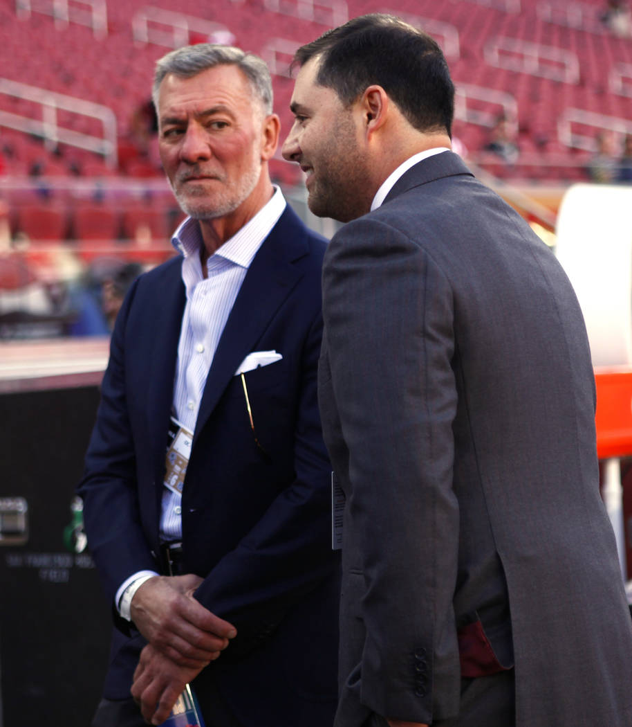 Station's Casino CEO Frank Fertitta, left, meets with San Francisco 49ers CEO Jed York prior to the start of an NFL game against the Oakland Raiders at Levi's Stadium in Santa Clara, Calif., Thurs ...