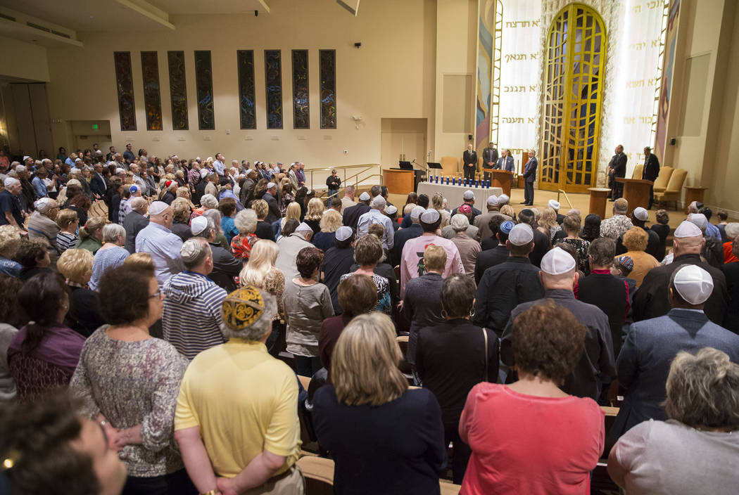 Temple Beth Sholom in Las Vegas was packed during a vigil on Thursday, November 1, 2018, for the 11 people killed at the Tree of Life synagogue in Pittsburgh, Pa., on Saturday. Benjamin Hager Las ...